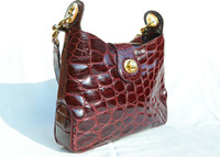 RARE 1980's-90's OXBLOOD RED Alligator Belly Skin Shoulder Bag - MENESTRIER - PARIS