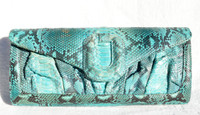 Early 2000's TURQUOISE Blue PYTHON Snake Skin CLUTCH Shoulder Bag