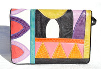 Colorful 1970's-80's Patchwork COBRA & Karung Snake Skin Handbag Clutch - SHARIF