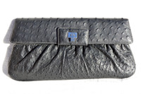 "XXL 16"" Early 2000's Jet Black OSTRICH Skin Clutch- Lambertson Truex"
