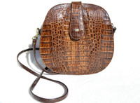 Casual Brown 1960's Canteen Style Crocodile Skin CROSS BODY Shoulder Bag