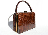 "Classic 1950's-60's ""Exact Match"" REVITS ALLIGATOR Skin Handbag"