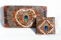 1970's PEACOCK Feather CLUTCH Bag & Wallet - Heart!