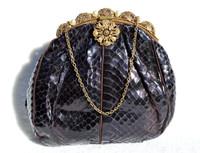 1930's Metallic PURPLE Cobra Snake Skin Evening Bag - Filigree & Pearl Frame!