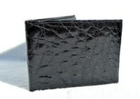 Stunning Men's 1990's JET BLACK Crocodile Skin Wallet