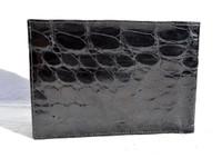 XL Men's 1990's JET BLACK Crocodile Belly Skin Passport Wallet