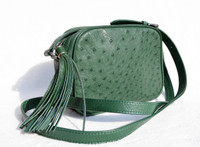Kale GREEN Early 2000's Ostrich Skin Cross Body Shoulder Bag