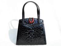 Stunning Jet Black 1950's-1960's TURTLE Skin Handbag - BAKELITE Clasp!
