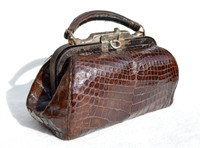 Petite Antique Early 1900's ALLIGATOR Belly Skin Doctor Bag