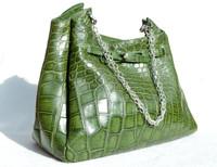 XL 16 x 12 Early 2000's GREEN Crocodile Belly Skin Shoulder Bag - Mauro Governa