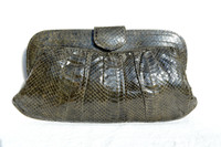 1970's-80's KALE Green COBRA Snake Skin CLUTCH Purse