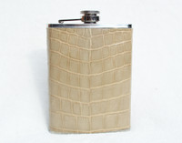 New! Custom Light TAN Blonde ALLIGATOR Belly Skin 8 Oz. Stainless Hip FLASK