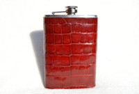 New! Custom Cherry Red ALLIGATOR Belly Skin 8 Oz. Stainless Hip FLASK