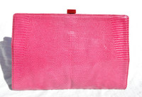 XL BOTTEGA VENETA 1990's-2000's Pink LIZARD Skin CLUTCH Bag w/ RED Clasp!