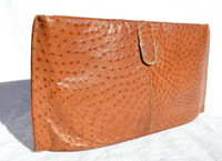 Sleek BURNT ORANGE 1970's-80's Ostrich Skin CLUTCH Bag by LENNOX