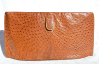 Sleek BURNT ORANGE 1970's-80's Ostrich Skin CLUTCH Bag by LENNOX