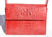 DARK PINK RED Early 2000's Hornback CROCODILE Shoulder Bag -Max Nugus