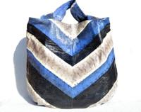 XL 16 x 14 Early 2000's Chevron Blue Cream & Black Snake Skin SHOULDER Bag Tote  - BEIRN