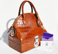 New! Cognac RALPH LAUREN Alligator Belly Skin RICKY Bag - SAC MALLETTE Handbag - Tags!