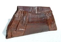 "Sleek 14"" Chocolate 1950's-60's TEGU Lizard Skin CLUTCH Purse"