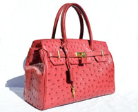 New! RED Belted Ostrich Skin Handbag Satchel w/Lock & Keys