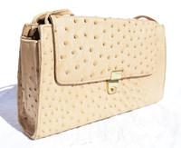 Hazelnut TAN 1980's Ostrich Skin Shoulder Bag