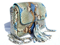 Stunning Chanel-Style Early 2000's Blue Gray PYTHON Skin Shoulder Cross Body Bag