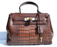 Dark Brown Mauro Governa CROCODILE Belly Skin BIRKIN Bag SATCHEL Shoulder Bag - HERMES Style!