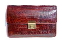 Unisex Burgundy RED 1990's  CROCODILE Belly Skin Clutch European Case