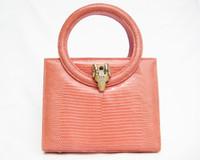 Early 2000's PINK Lizard Skin Handbag - Double ROUND Handles - Enamel RAM