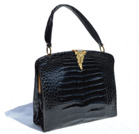 Amazing ROSENFELD 1950's-60's BLACK Alligator Belly Skin Handbag - Great Clasp!