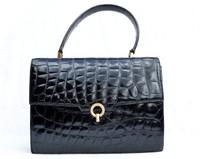 Classic Jet Black 1950's-60's ALLIGATOR Belly Skin Handbag - France - HERMES Style