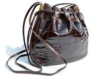LEDERER 1980's Chocolate Brown CROCODILE BELLY Skin Drawstring SHOULDER Bag Bucket Tote