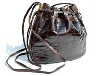 LEDERER 1980's Chocolate Brown CROCODILE BELLY Skin Drawstring SHOULDER Bag Bucket Tote