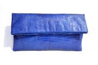 Stunning Sapphire BLUE Early 2000's Lizard Skin Fold-Over  CLUTCH Bag