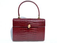 Stunning BURGUNDY RED 1990's CROCODILE Porosus Skin Handbag