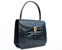 Classic Jet BLACK 1990's CROCODILE Porosus Belly Skin Handbag