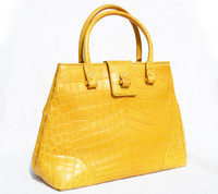 XL 15 x 10 Mustard YELLOW GIORGIO'S Palm Beach Matte  ALLIGATOR Belly Skin Handbag Shoulder Bag