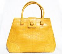 XL 15 x 10 Mustard YELLOW GIORGIO'S Palm Beach Matte  ALLIGATOR Belly Skin Handbag Shoulder Bag