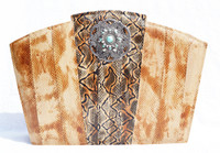 Custom Jeweled Brown, Gray & Tan 1990's  Snake Skin CLUTCH Shoulder Bag