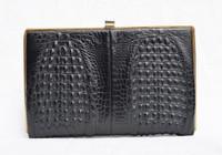 1960's Black Double Hornback CROCODILE Clutch Purse Shoulder Bag