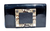 KARA ROSS Chic 2000's Patent Leather, PYTHON & Stingray Skin Clutch Shoulder CROSS BODY Bag