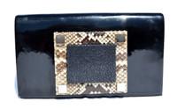 KARA ROSS Chic 2000's Patent Leather, PYTHON & Stingray Skin Clutch Shoulder CROSS BODY Bag