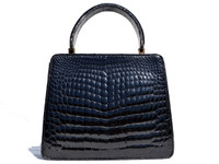 Petite BLACK 1960's CROCODILE Belly Skin Handbag