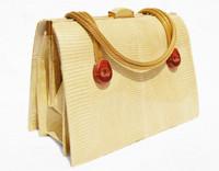 Blonde Tan MARTIN VAN SCHAAK 1950's-60's Lizard Skin Handbag - Bakelite!