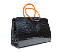 RARE JET BLACK 1950's-60's MARTIN VAN SCHAAK Crocodile Skin Handbag - LUCITE