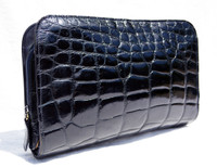 Midnight Dark NAVY BLUE 1990's Chic ALLIGATOR Belly Skin Clutch - Mauro Governa