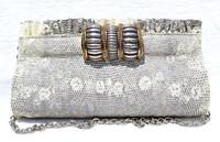 New! 2000's Embellished RING Lizard CLUTCH Shoulder Bag