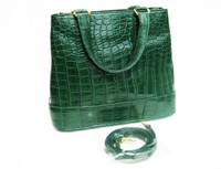 EMERALD GREEN 1990's-2000's ALLIGATOR Skin Handbag Shoulder Bag