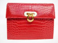 HELENE 1990's-2000's RED Alligator Belly Skin Clutch CROSS BODY Shoulder Bag